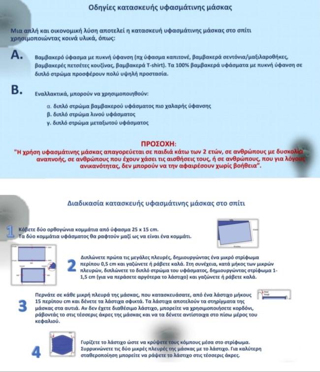Οδηγίες του υπουργείου Ανάπτυξης για την κατασκευή υφασμάτινων μασκών στο σπίτι [γράφημα]