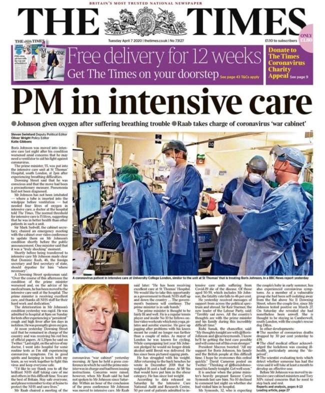 Τα συγκλονιστικά πρωτοσέλιδα του βρετανικού Τύπου για την υγεία του Μπόρις Τζόνσον