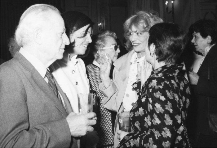 Με τους (από αριστερά) Ζιλ Ντασέν, Χριστίνα Ωνάση, Μελίνα Μερκούρη