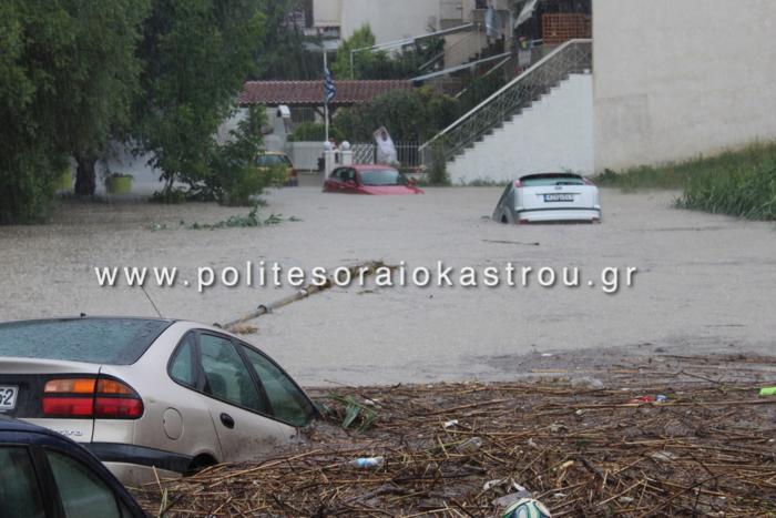 Καταιγίδα «έπνιξε» το Ωραιόκαστρο Θεσσαλονίκης (φωτό)