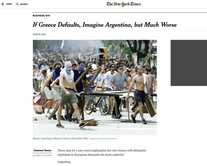 ΝΥΤ: Αργεντινή και... χειρότερα, αν η Ελλάδα χρεοκοπήσει