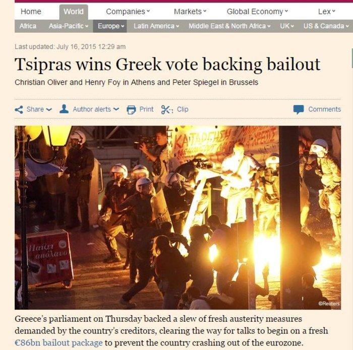 Ξένα ΜΜΕ: Το «Ναι» και οι απώλειες του ΣΥΡΙΖΑ στα πρωτοσέλιδα - εικόνα 3