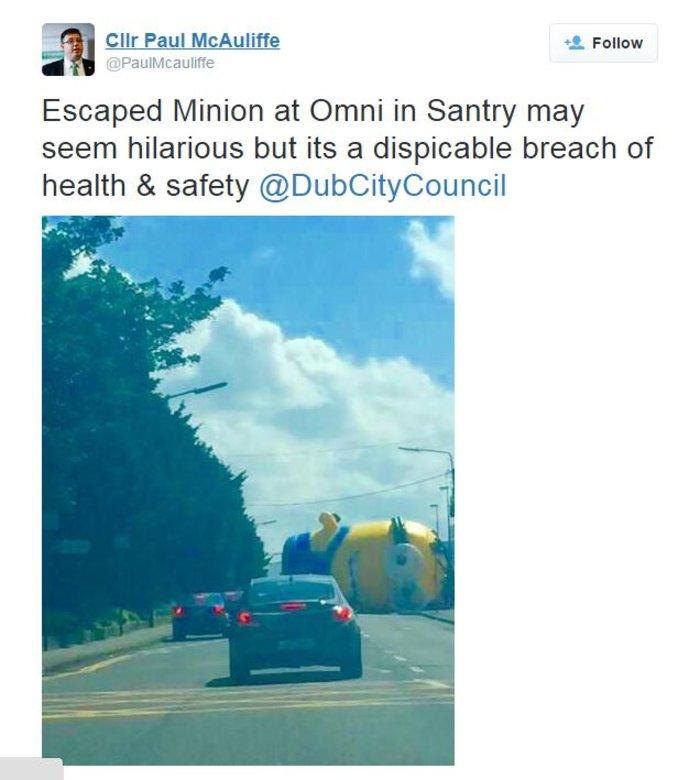 Γιγαντιαίο Minion προκαλεί χάος σε δρόμο του Δουβλίνου - εικόνα 3