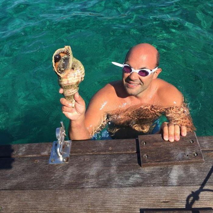 Ο σύζυγος της Νία Βαρντάλος βρήκε ένα κοχύλι στο Αιγαίο, αλλά όπως γράφει η ίδια, θα το ρίξει ξανά για να το βρει ο επόμενος.