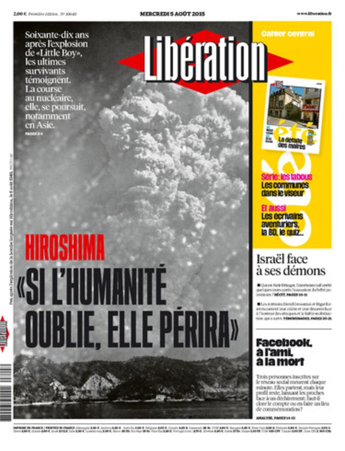 Συγκλονιστικό εξώφυλλο της Liberation για τη Χιροσίμα