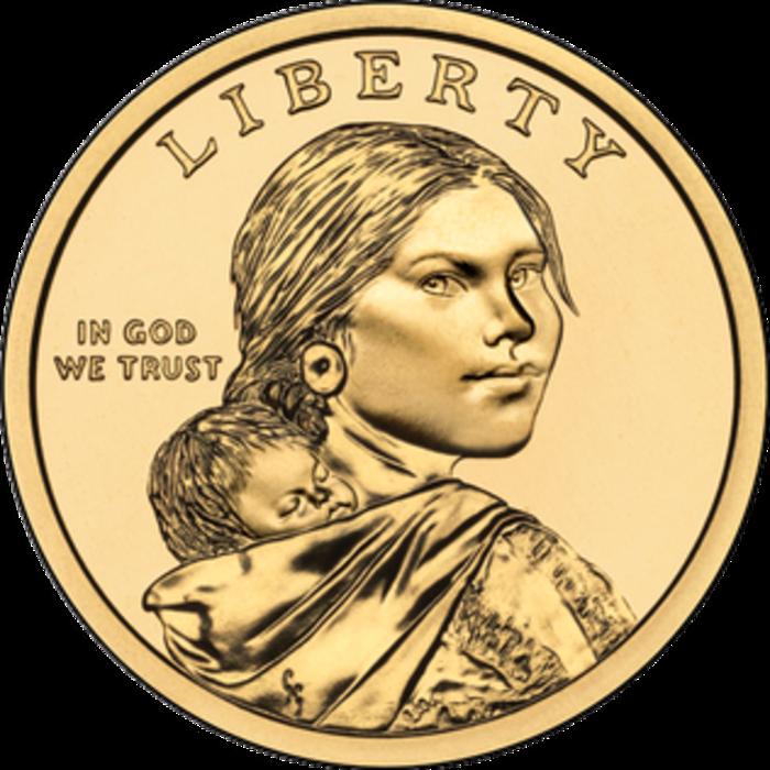 Η Ινδιάνα ιχνηλάτισσα Σασκατζουία αμερικανικό κέρμα του ενός δολαρίου