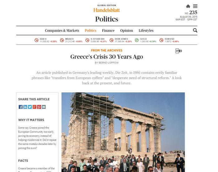 H Die Zeit είχε δει... στα χοιρινά σουβλάκια την κρίση στην Ελλάδα