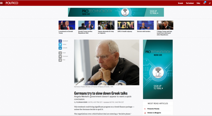 Politico: Ο Σόιμπλε παίζει καθυστέρηση για να διασπαστεί ο ΣΥΡΙΖΑ