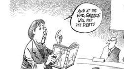 Σκίτσο των NYT για το ελληνικό χρέος: Η Μέρκελ διαβάζει μυθολογία