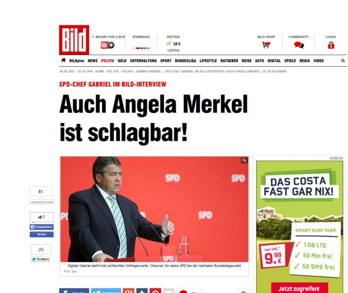 Συνέντευξη Γκάμπριελ στην Bild: η Μέρκελ μπορεί να χάσει το 2017
