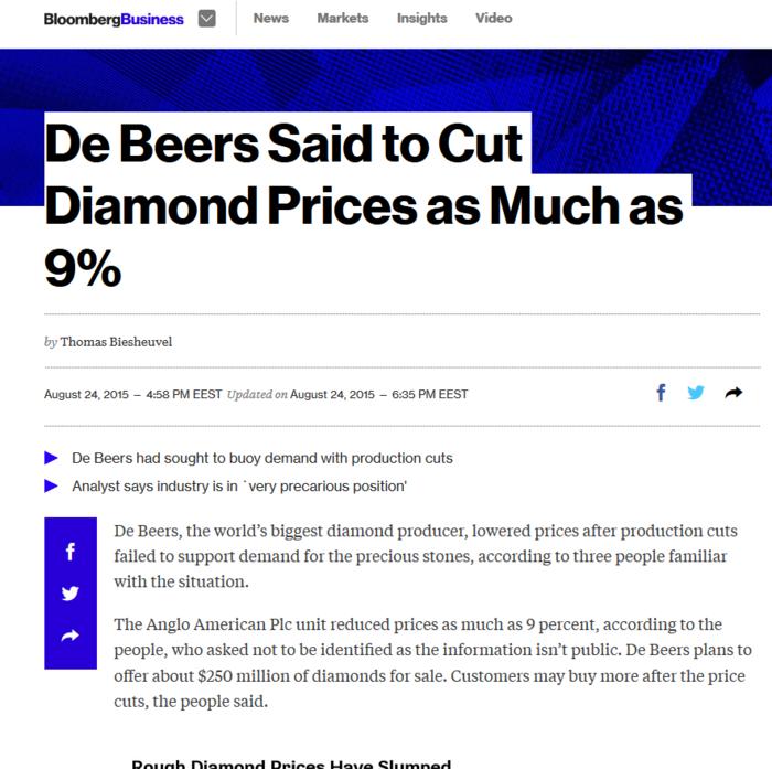 Κρίση στην αγορά διαμαντιών – Μείωση 9% στις τιμές