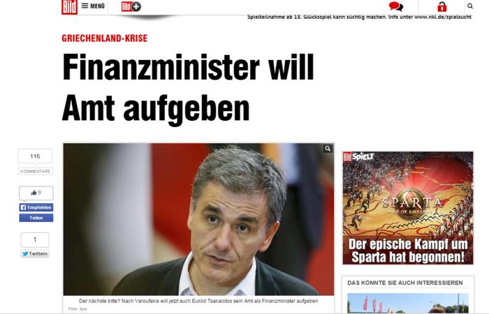 Bild: Ο Τσακαλώτος θέλει να φύγει από το υπουργείο του