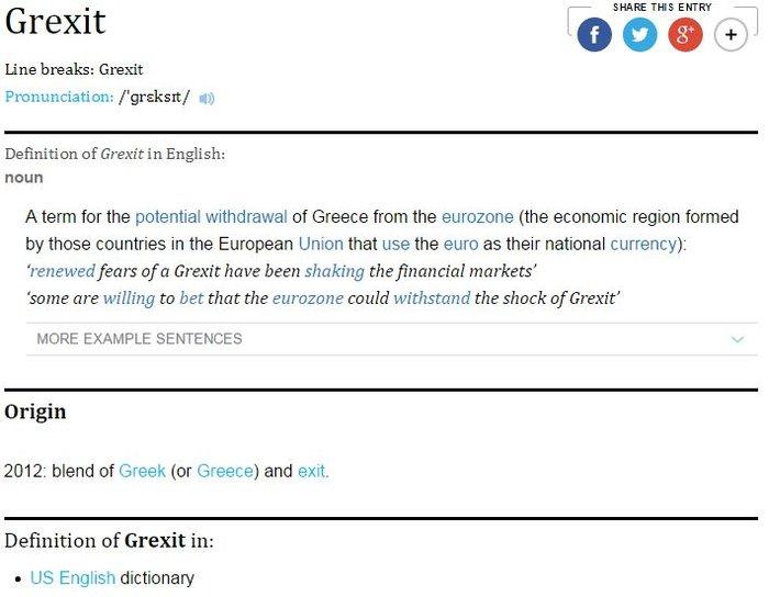 Το Grexit μπήκε στο λεξικό της Οξφόρδης!