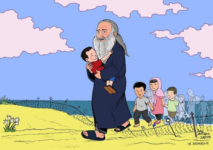 Ελληνας σκιτσογράφος συγκινεί:Το αγοράκι «ζει» στην αγκαλιά του Παπα-Στρατή