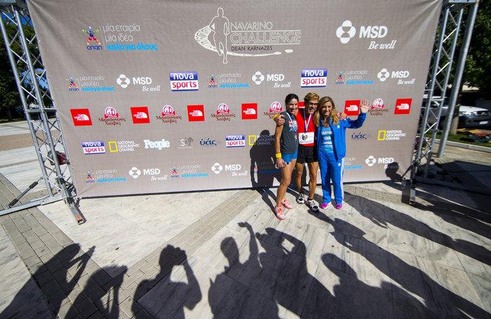 """Ο Dean """"Κωνσταντίνος"""" Karnezes με την μαραθωνοδρόμο Μαρία Πολύζου, στο Navarino Challenge - photo by Vladimir Rys"""