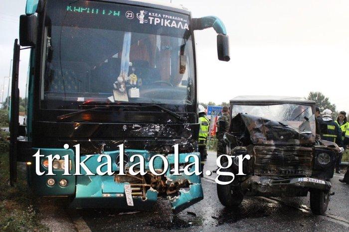 Μετωπική λεωφορείου με στρατιωτικό τζιπ:7 τραυματίες