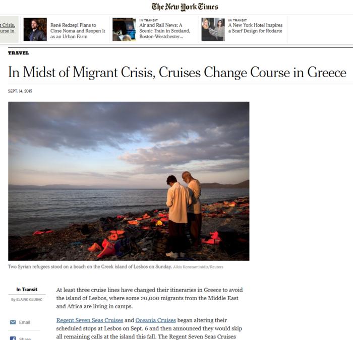 NYT: Τα κρουαζιερόπλοια αλλάζουν δρομολόγια για να μη σταματούν στη Λέσβο