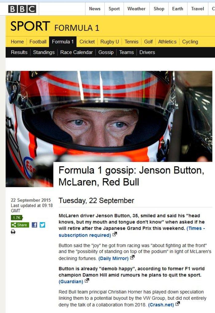 Τέλος η Formula 1 για τον Button;