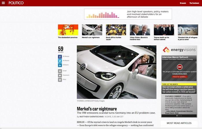 Politico: Το σκάνδαλο της VW έχει γίνει ο εφιάλτης της Μέρκελ & του Σόιμπλε