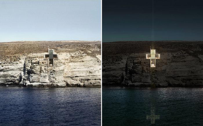 Ένα εκκλησάκι-σταυρός μέσα στα βράχια του Αιγαίου