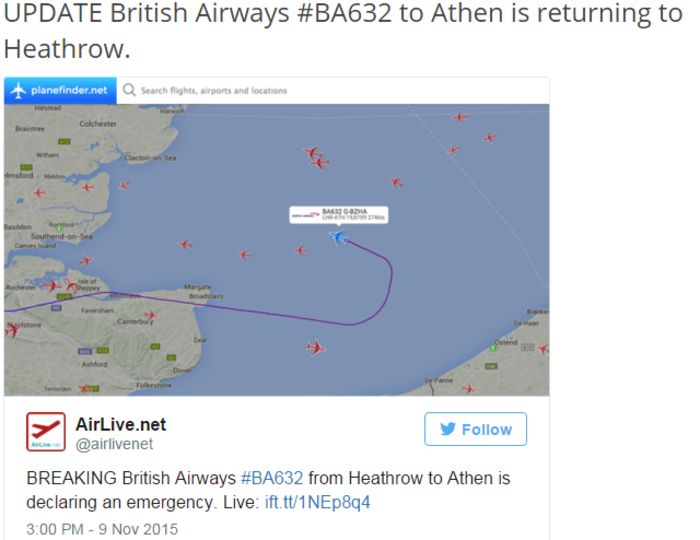 Αναγκαστική προσγείωση πτήσης της British Airways για Αθήνα