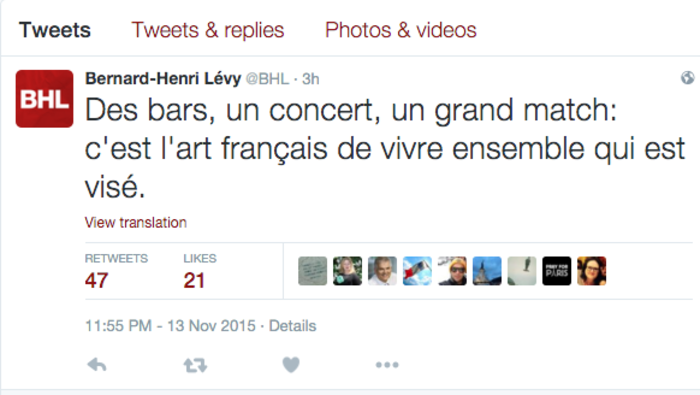 Ο Μπερνάρ Ανρί Λεβί στο twitter: Πλήττεται η τέχνη της συμβίωσης. - εικόνα 2