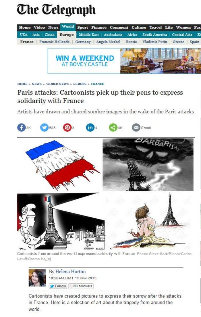 Σκιτσογράφοι από όλον τον κόσμο θρηνούν για το Παρίσι