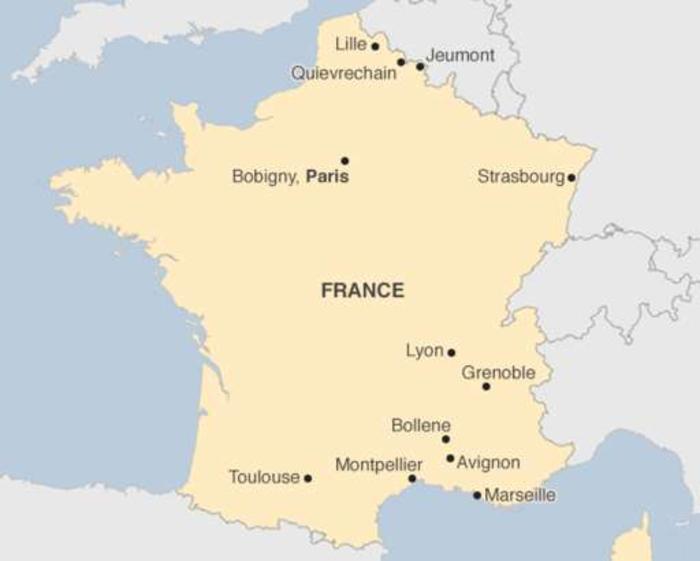 Τα σημεία στα οποία έγιναν έρευνες από τις γαλλικές αρχές (πηγή: BBC)
