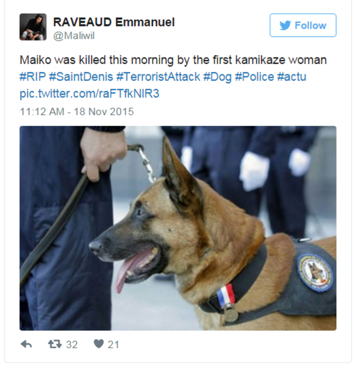 Nεκρός κι ένας σκύλος της αστυνομίας στο Σεν Ντενί - εικόνα 3