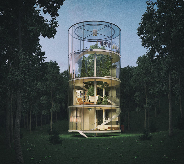 Το γυάλινο σπίτι χωρίς τοίχους, που τυλίγεται σε ένα τεράστιο δέντρο! - εικόνα 3