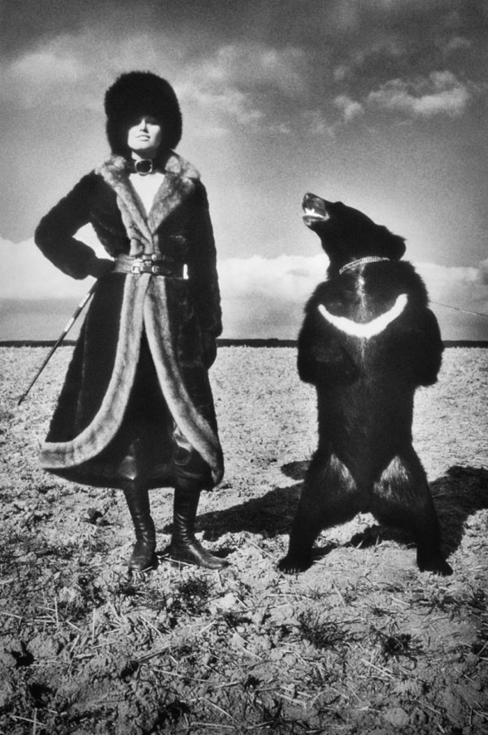 Model in Fur with Bear