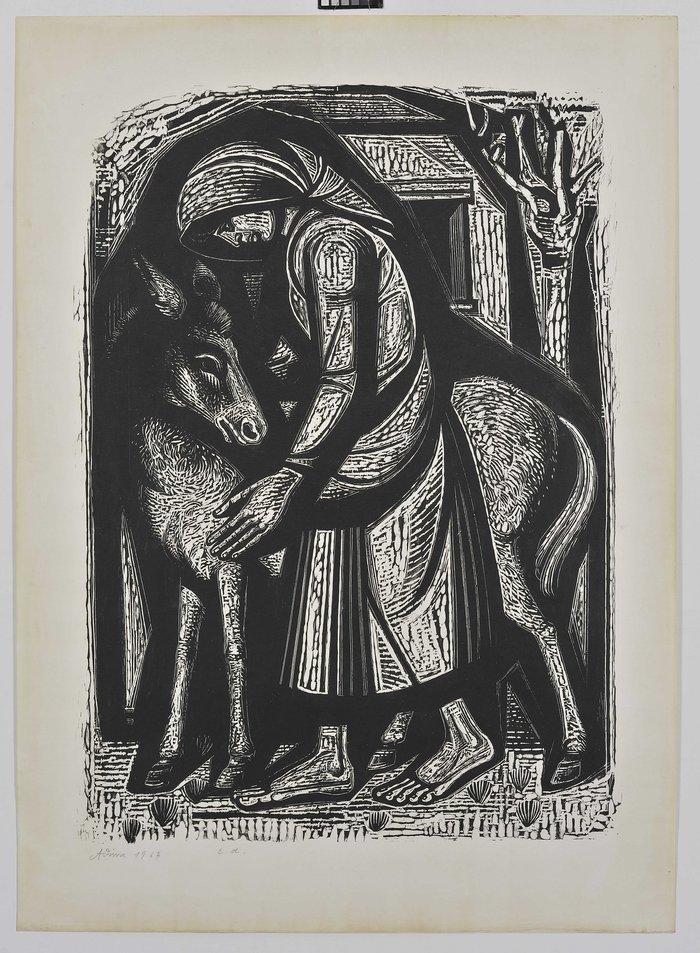 Το κορίτσι με τα μικρά δέντρα, 1963Έγχρωμη ξυλογραφία 80Χ53 εκ.
