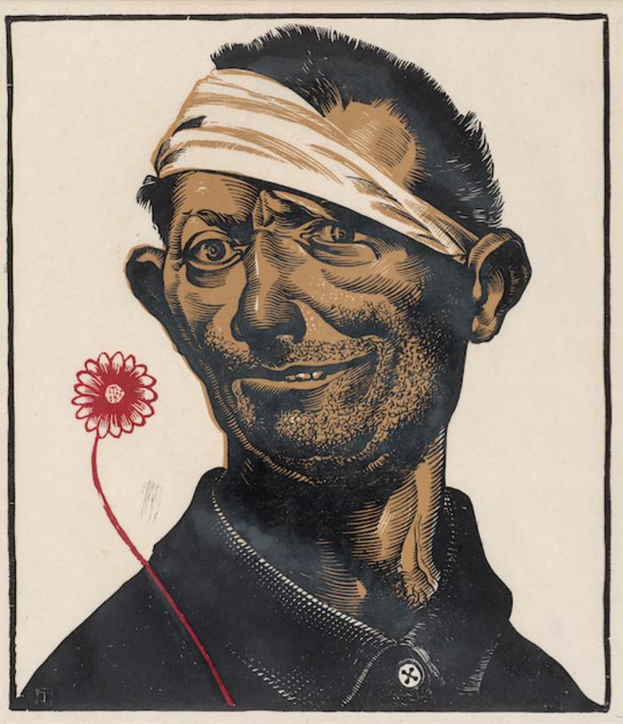 Ο τρελός, 1939-43Δίχρωμη ξυλογραφία 33,4Χ28,8 εκ.