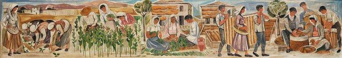 Μακέτα για την σύνθεση «Καλλιέργεια του καπνού», 1960Τέμπερα σε ξύλο 59Χ380 εκ.