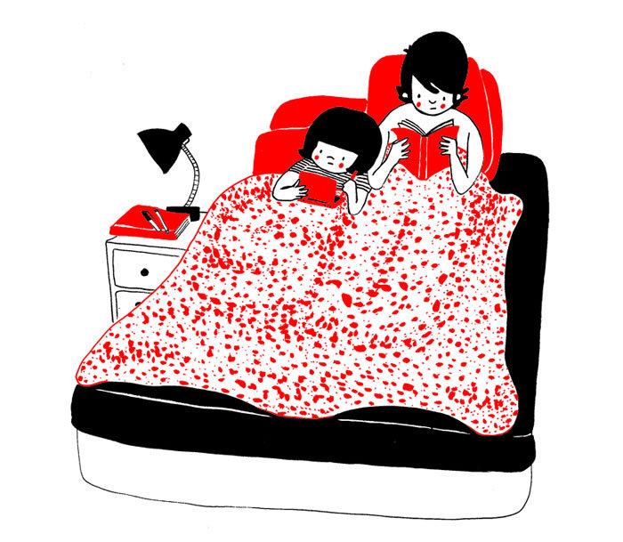 Ευτυχία είναι όταν διαβάζετε και οι δύο στο κρεββάτι πριν κοιμηθείτε στο τέλος μιας πολύ κουραστικής μέρας