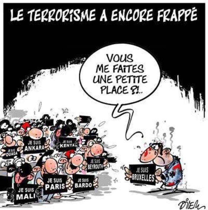 «Μπορείτε να κάνετε λίγο χώρο για μένα;» #Brussels #JeSuisBruxelles.