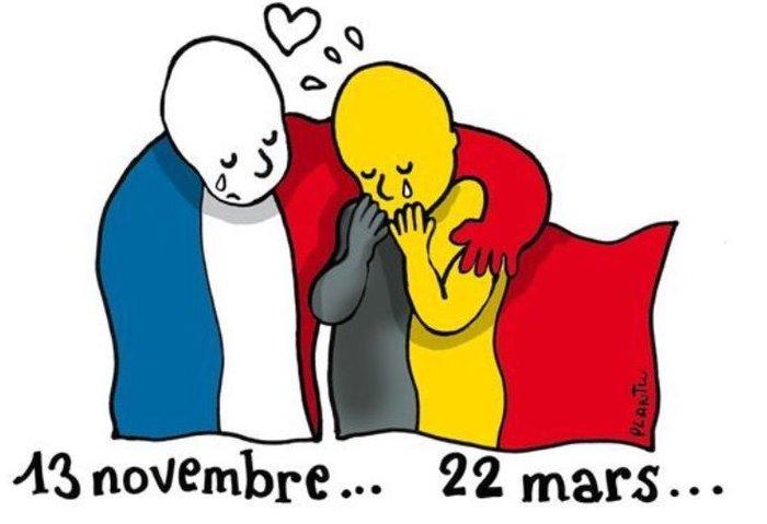 Θρήνος στο twitter με σκίτσα-γροθιά για το μακελειό στις Βρυξέλλες