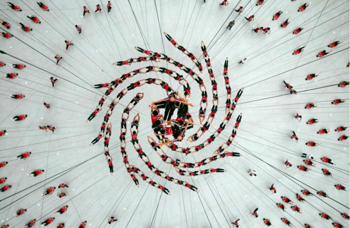 520 μαθητές της Σχολής Πολεμικών Τεχνών Shaolin Tagou πραγματοποιούν επίδειξη