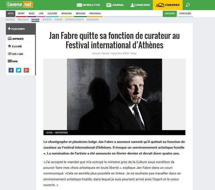 Η πρώτη δήλωση Φαμπρ στα βελγικά μέσα για την παραίτηση