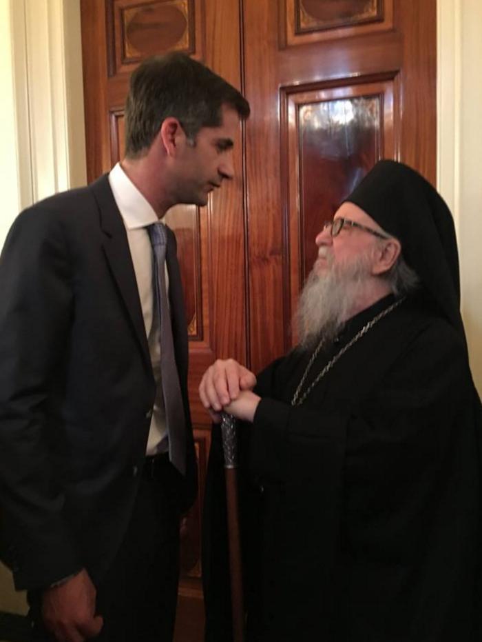 Ο Κώστας Μπακογιάννης με τον Αρχιεπίσκοπο Αμερικής Δημήτριο