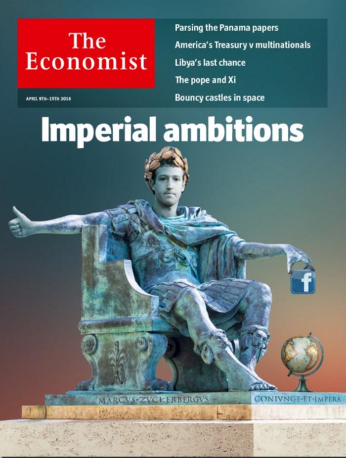 Ο Ζούκερμπεργκ ως Καίσαρας στο εξώφυλλο του Economist