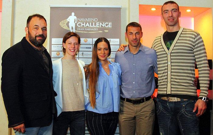 Από αριστερά: Νίκος Γέμελος, Oμοσπονδιακός Tεχνικός Kολύμβησης, Κέλλυ Αραούζου, Παγκόσμια Πρωταθλήτρια στην κολύμβηση ανοιχτής θαλάσσης, Μάντη Περσάκη, γυμνάστρια pilates, Περικλής Ιακωβάκης, Ολυμπιονίκης & Παγκόσμιος Πρωταθλητής, 400μ. με εμπόδια, Αλέξανδρος Νικολαΐδης, Δις Αργυρός Ολυμπιονίκης στο Tae Kwon Do