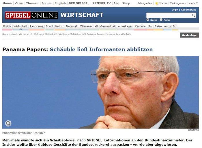 Το SpiegeI εμπλέκει το Γερμανικό ΥΠΟΙΚ και τον Σόιμπλε στα Panama Papers