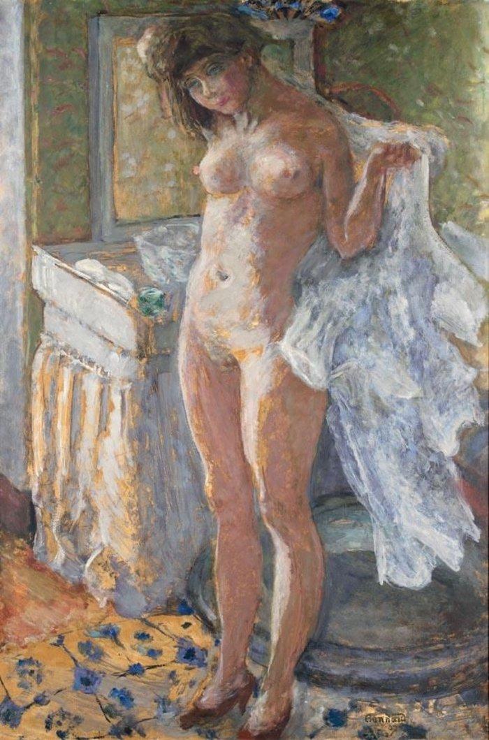 Pierre Bonnard, Dans le cabinet de toilette or Jeune fille s'essuyant (1907).