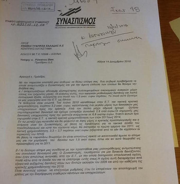 Η επιστολή Τσίπρα σε τραπεζίτη για δάνεια του ΣΥΝΑΣΠΙΣΜΟΥ