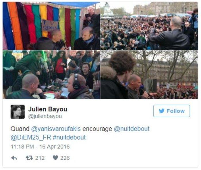 Ο Βαρουφάκης στις πλατείες στο Παρίσι με διαδηλωτές