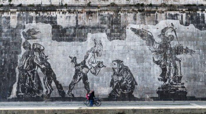 Οι όχθες του Τίβερη μεταμορφώνονται από μια μεγάλη οικολογική τοιχογραφία - εικόνα 11
