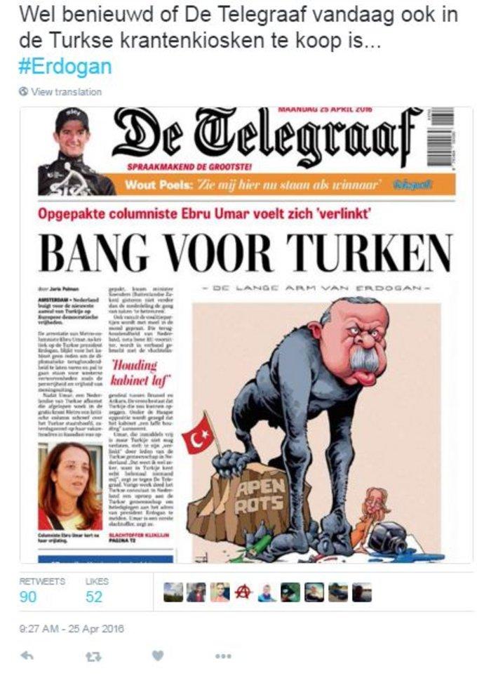 Tο σκίτσο-απάντηση της De Telegraaf στον Ερντογάν