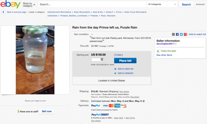 Aπίστευτο! Κάποιος πουλάει νερό βροχής από την ημέρα θανάτου του Prince