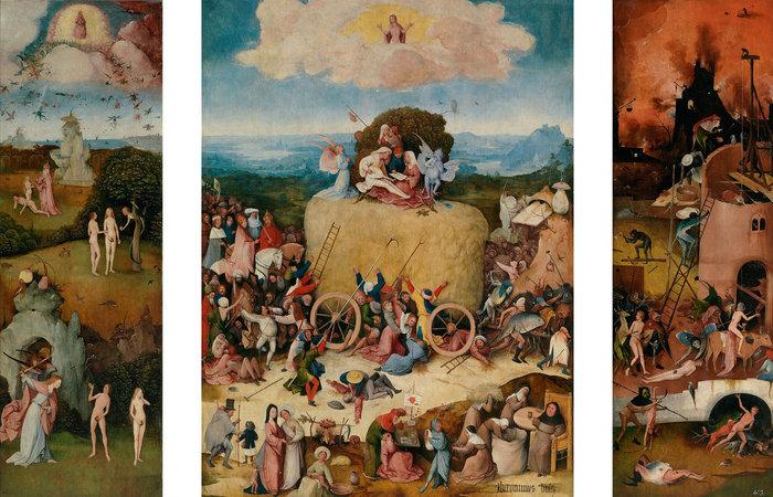 """Το τρίπτυχο """"σταρ"""" έργο της έκθεσης The Hay Wain Madrid, Museo Nacional del Prado."""